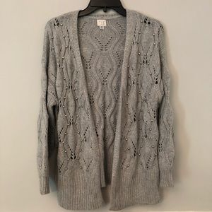 A new day gray beaded open cardigan sweater XS